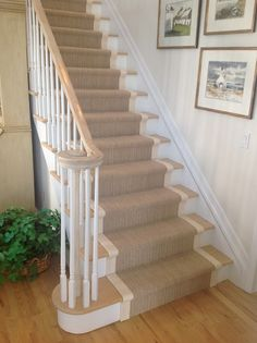 Wide Binding Sisal Runners - traditional - Staircase - New York - Custom Stair Runners Carpet Staircase, Staircase Runner, Staircase Remodel, Hall Carpet, Carpet For Stairs, Stairs With Carpet Runner, Oak Stairs, White Stairs, House Stairs