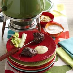 Beef Fondue with Sauces Recipe        (you can use any kind of tender meat )