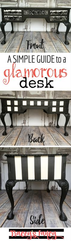 A simple guide to a black lace glamorous desk. This gorgeous hand-painted Black and White desk has so much character. In this furniture tutorial, you'll learn step by step how she designed and  painted it! Including how to tape stripes and using a brayer to add wallpaper to the drawers. Tracey's Fancy