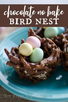 A sweet way to celebrate Easter! These no chocolate peanut butter no bake bird's nest are so easy to make. It's a sweet ending to your celebration, and they double as table decor! #artfrommytable #eastertreats #nobakebirdsnest