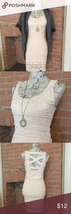 💋Blush Lacy Bodycon w/Cutout Back NWOT.  Delicate and sweet, but a little sassy.  This adorable bodycon dress is super versatile.  It has a lot of stretch and looks great with a cute shrug. Forever 21 Dresses Mini