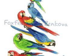 Parrot Stack Painting Print Wall art bird stack by foxfeather
