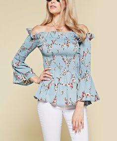 chloah Blue Floral Bell-Sleeve Off-Shoulder Top | zulily