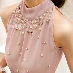 2015 nuevas mujeres que rebordea Sexy camisa de gasa sin tirantes Tops lindos de verano camisas blusas camisetas sin mangas sin mangas(China (Mainland))