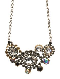 Bold Crystal Paisley Statement Bib Necklace in Evening Moon - Sorrelli