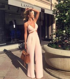 51 Wide Leg Jumpsuit Ideas Trend in This Year # Classy Outfits, Casual Outfits, Summer Outfits, Cute Outfits, Fashion Outfits, Miami Outfits, Work Outfits, Strapless Jumpsuit, Love Fashion