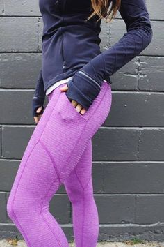♡ Womens Workout Clothes | Good Fashion Blogger | Fitness Apparel | Must have… Lululemon Leggings With Pockets, Yoga Pants With Pockets, Workout Leggings With Pockets, Lululemon Pants, Womens Workout Outfits, Sport Outfits, Nike Yoga Pants, Purple Leggings, Going Out Outfits For Women