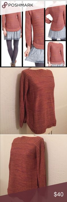 """Anthropologie Mingled Hues Sweater Pullover styling, cotton/acrylic, dry clean, 25"""" long.  In perfect condition.  No offers in comments, please. Anthropologie Sweaters"""