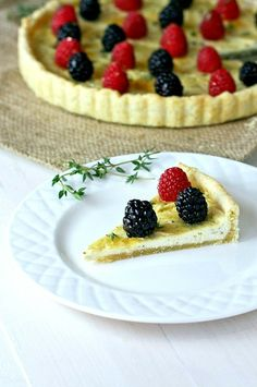 Thyme Goat Cheese Tart - Savory cheese tart with a hint of sweetness from FoodBabbles.com