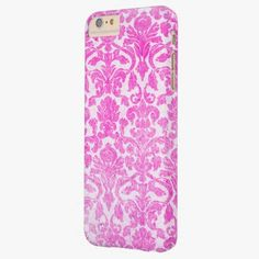 iPhone 6 Plus Cases | Girly Retro Pink Vintage Floral Damask Pattern Barely There iPhone 6 Plus Case