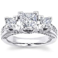 IN LOVE!!  75% Off was $6,800.00, now is $1,679.00! 2.00 Carats 3 Stone Princess Cut Natural Genuine Diamond Engagement Ring Anniversary Ring Certified Ring 14k Solid White Gold D - E / VS2 SI1