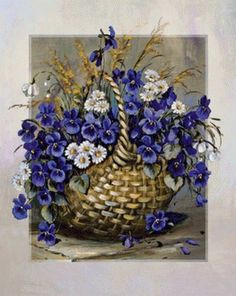 Basket In Blue Canvas Artwork by Katharina Schöttler Canvas Artwork, Canvas Prints, Art Prints, Blue Artwork, Tole Painting, Painting & Drawing, Watercolor Flowers, Watercolor Art, Art Carte