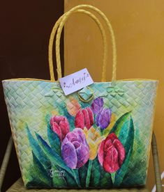 Bayong Painted Bags, Hand Painted, Kitchen Posters, Lace Bag, Hippie Chic, Flower Photos, Fabric Painting, Bag Making, Flower Art