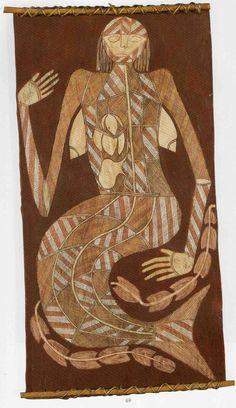 Jimmi Nganjmirra Bark Painting of a mermaid MawkMawk Australian Aboriginal History, Australian Artists, Funny Vintage Ads, Bird People, Aboriginal Artwork, Aboriginal Culture, African Textiles, Indigenous Art, Mermaid Art