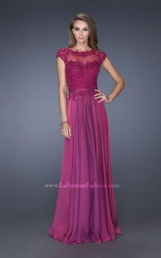 chiffon gown with a sweetheart neckline and cap sleeve