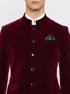 Buy INVICTUS Maroon Velvet Slim Fit Formal Blazer - Blazers for Men | Myntra Party Wear Blazers, Maroon Blazer, Wedding Suits, Wedding Groom, Smoking Jacket, Pleated Shirt, Groom Wear, Velvet Jacket, Mens Fashion Suits
