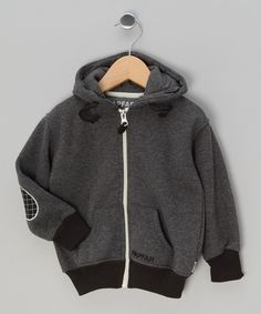 Grey Deany Patch Hoodie - Toddler & Kids by Papfar Kids