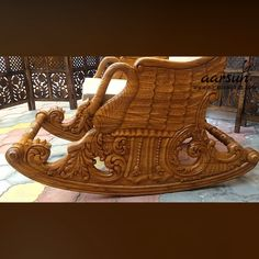 Add a cozy corner to your living room or bedroom with our Wooden Rocking Chair / Relaxing Chair / Easy Chair made by Aarsun skilled craftsmen. Wooden Sofa Set Designs, Wooden Door Design, Wooden Art, Wooden Doors, Small Bedroom Furniture, Royal Furniture, Room Furniture Design, Sofa Bed Design, Wooden Rocking Chairs