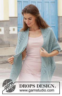 Free knitting patterns and crochet patterns by DROPS Design Baby Knitting Patterns, Shawl Patterns, Lace Patterns, Free Knitting, Crochet Patterns, Cardigan Pattern, Crochet Cardigan, Knitted Shawls, Crochet Shawl