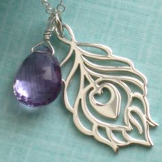 Pride Necklace - Peacock Feather Pierced Pendant and Amethyst Briolette in Sterling Silver. $42.00, via Etsy.