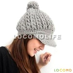 Free Pattern Knit Brim Hats | ... Cabled Pattern Knit Beanie Crochet Rib Hat Brim Cap Winter Beige