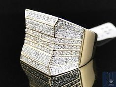 14K Mens Yellow Gold Round Cut Vs Pave Genuine Diamond Pinky Band Ring 5.0 Ct