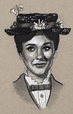 Julie Andrews Mary Poppins Portrait Drawing Print