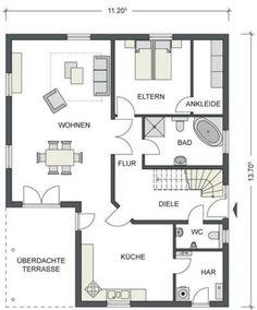 Grundriss Erdgeschoss Hausvorstellung Pinterest Bungalow