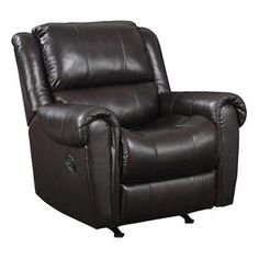 Leather Rocker Recliner in Chocolate