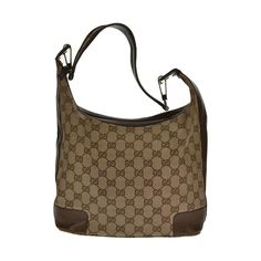 Gucci Original Brown Monogram Canvas Shoulder Bag Pre-owned Authentic #Gucci #Hobo