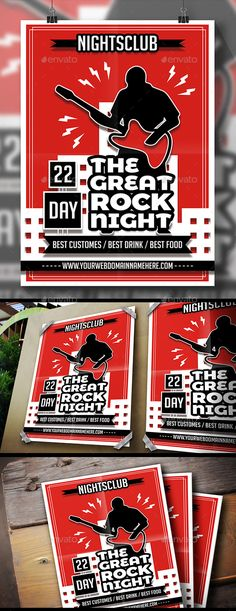 Rock City Flyer by BossTwinsArt Package 8.3×11.7�20print dimension, with Bleed and Guides. Layered Psd file. CMYK, Print ready.You can change text and colors very