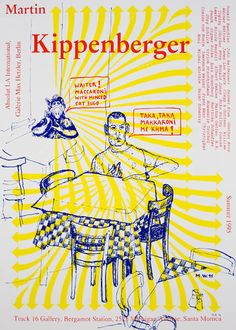 Martin Kippenberger Signed Silkscreen Print from 1996 Track 16 Gallery Exhibition. Edition of 100. Offered by Track 16.
