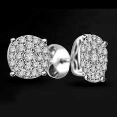 Platinum Plated 0.50ct Round Cut VVS1 Diamond Cluster Stud Earrings #Jpjewels8 #SolitaireStud