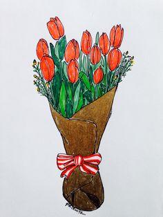 Tulips  #flowers #tulips  #illustration