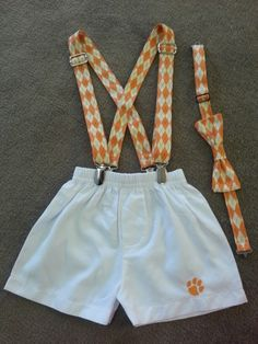Custom bowtie and suspenders sets for baby and toddler boys. Follow us on social media at Meme's Sweet Treasures!