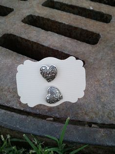 Silver Heart  Button Earings by kraftychix on Etsy, $2.75