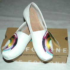 TOMS Women's Classic White Satin Finished Embroidery Shoes Size 8 $76.95-NIB #TOMS #LoafersMoccasins #CasualFootwear