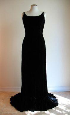 1930s Silk Velvet Evening Gown Couture Allure