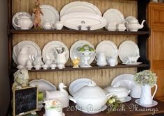 white pottery, bunny blackboard, and oh how I want a soup tureen :0)