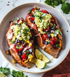 "Hannah Sunderani shared her Black Bean Stuffed Sweet Potato recipe because they are ""fully loaded, vegan and gluten-free. Sweet Potato Recipes Healthy, Vegan Recipes, Plant Based Recipes, Vegetable Recipes, Base Foods, Vegan Vegetarian, Love Food, Healthy Eating, Healthy Food"