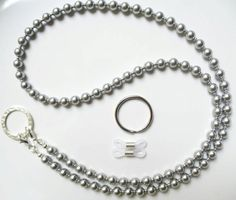 Lt Gray Swarovski Pearl Silver Convertible Eyeglass Chain Necklace - Reading Eye Glasses Chain - Keychain - Badge Holder - Eyewear Jewelry