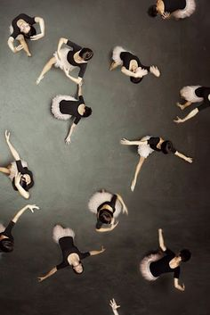 Rehearsal on stage. A different point of view. View from the top. Corps de Ballet.