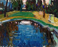 'Reflections---each day we filter what we see based on how we feel.  Many times what we perceive out there, is a mirror of the world within us.'  JT (always in my own words) ---  Vasily Kandinsky, Pond in the Park (Parkteich), ca. 1906