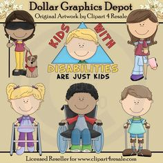 Kids with Disabilities - Clip Art - $1.00 : Dollar Graphics Depot, Quality Graphics ~ Discount Prices