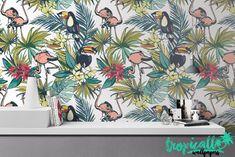 Flamingo Toucan Wallpaper - Removable Wallpapers - Flamingo Print Wallpaper - Self Adhesive Wall Decal - Temporary Peel and Stick Wall Art