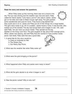 3rd grade short story comprehension