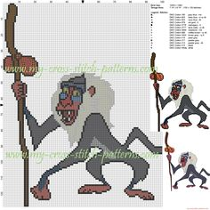 Rafiki (The lion king) cross stitch pattern