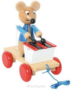 Bartl, Ziehtier Maus mit Xylophon, Zieht man die Maus durchs Zimmer, spielt sie auf dem Xylophon | 100418 / EAN:4019359800359