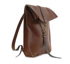 dark tan postal backpack by kika ny ::Roztayger :: Designer Handbags & Accessories