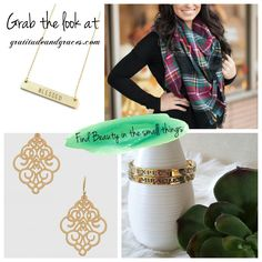Find beauty in the small things, and always remember how blessed you are💋 🤳Grab the look at gratitudeandgraces.com 💚Items Shown: Red-Green Woven Plaid Fashion Blanket Scarves, EXPECT MIRACLES Stackable Hinged Bangle Bracelet, Filigree Earrings (gold) and BLESSED Engraved Metal Bar Delicate Necklace #blessed #expectmiracles #fashion #fall #inspiration #gratitudeandgraces #grabthelook #filigree #accessories #gotthaveit #affordable